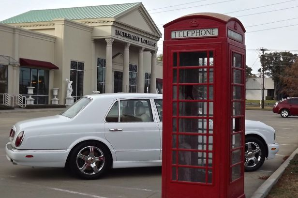 "Now this makes some sense...a Bentley, British Telephone Booth, and an ""Englishman"" business"