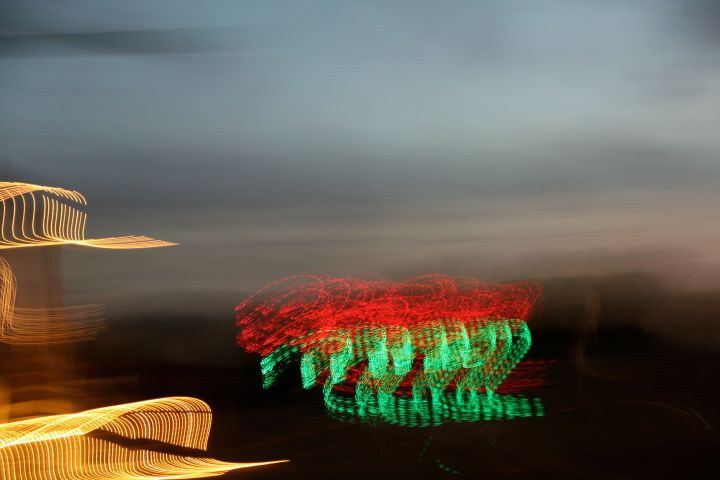 A slow shutter speed and a shaky hand gives an interesting light to a holiday display....