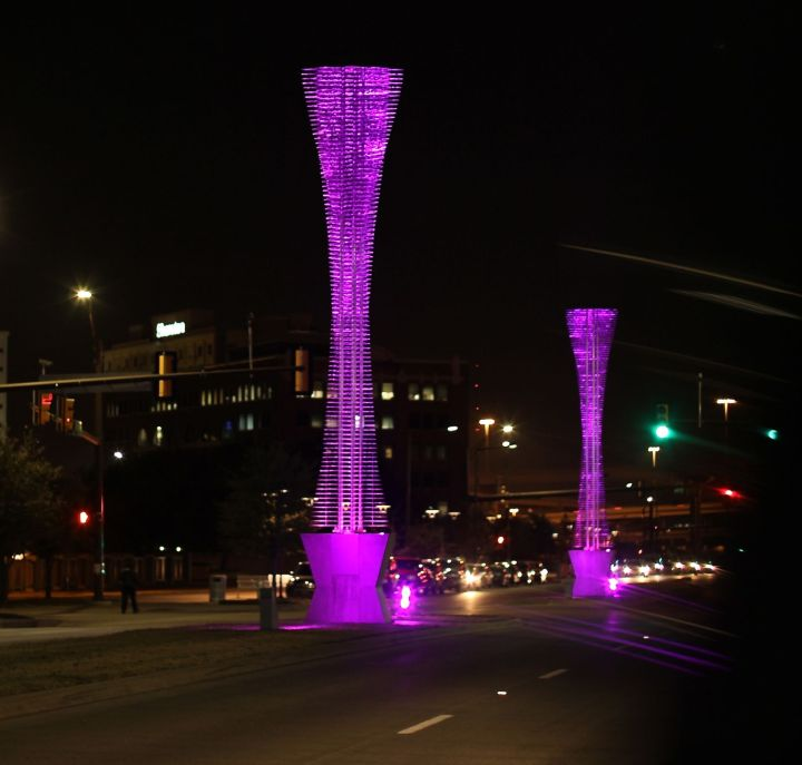 Modern trees in downtown Fort Worth - Lancaster Avenue....