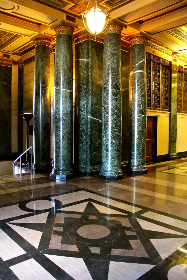 The west foyer is wonderfully detailed in its architecture - from the floor, the the walls and columns, to the....