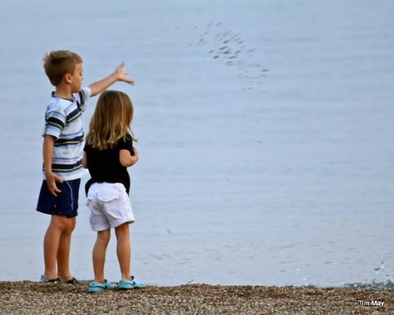 "Two kids unknown to me was captured tossing pebbles into the great ""beyond""...and it looks like there was a conversation to their purpose as well..."