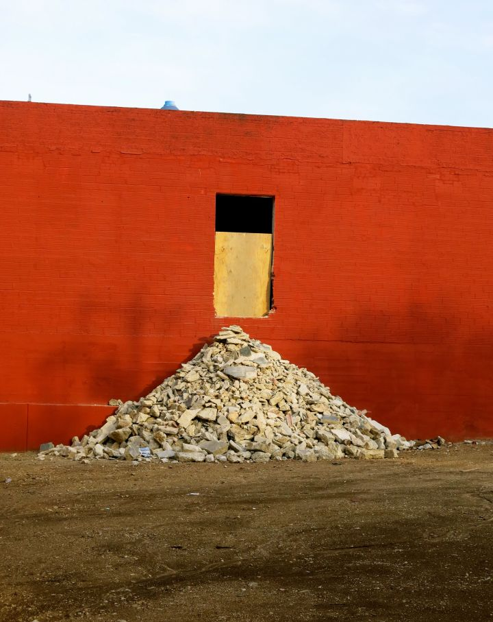 """One wall color behind ""One"" rubble pile that came out of ""One"" door…."
