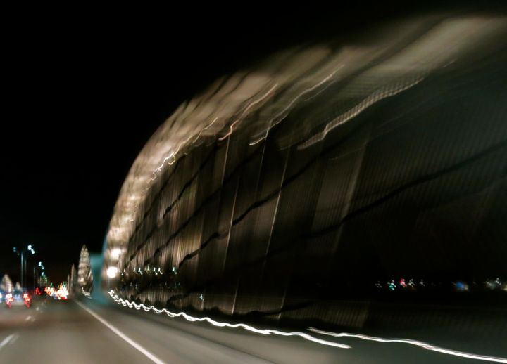 The West 7th Street bridge in Fort Worth, with a slow shutter coming to a slow-rolling stop….