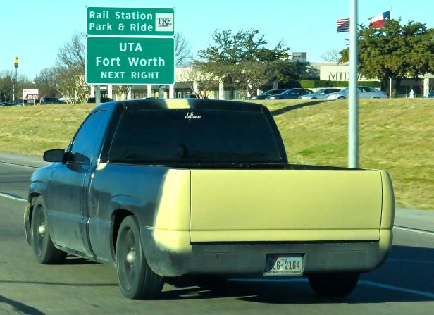 Based on the amount of dirt this truck is carrying, the driver has been thinking about his new paint color for a while, trying the same color on the tailgate, a spot on the side panel, and another on the roof of the cab…and am I just too old fashion in thinking he painted over where the tail lights are supposed to be?