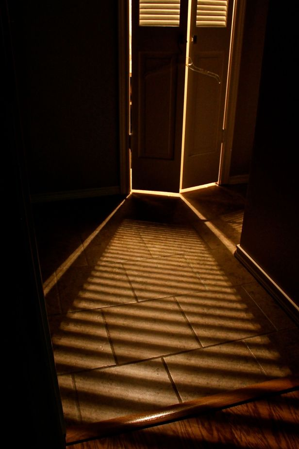 For whatever OK-then reason, I always marvel a bit at the shadow stripes on the bathroom floor...