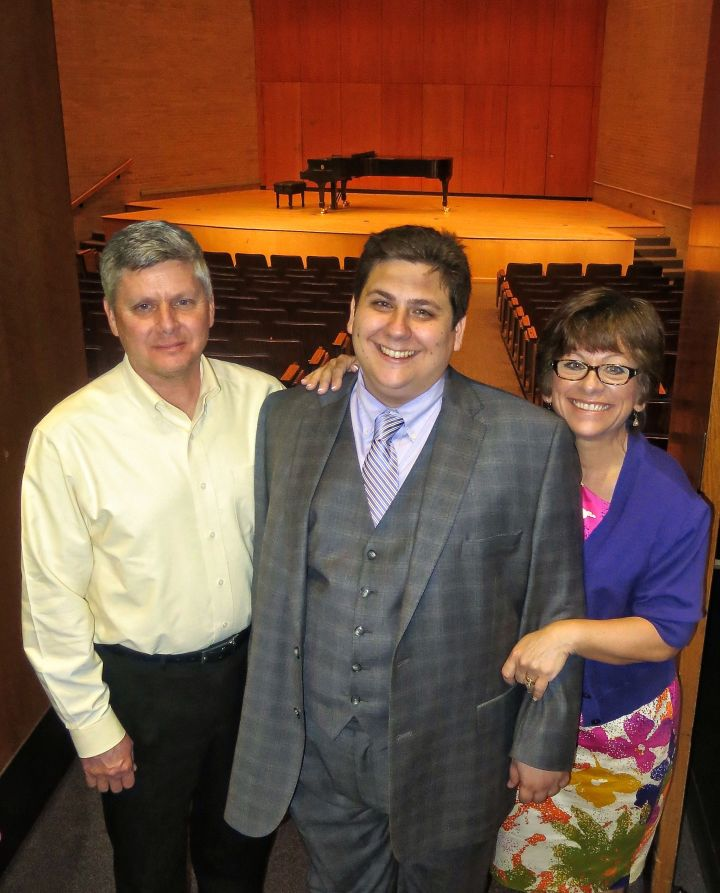 Brian, with his proud parents after his recital….