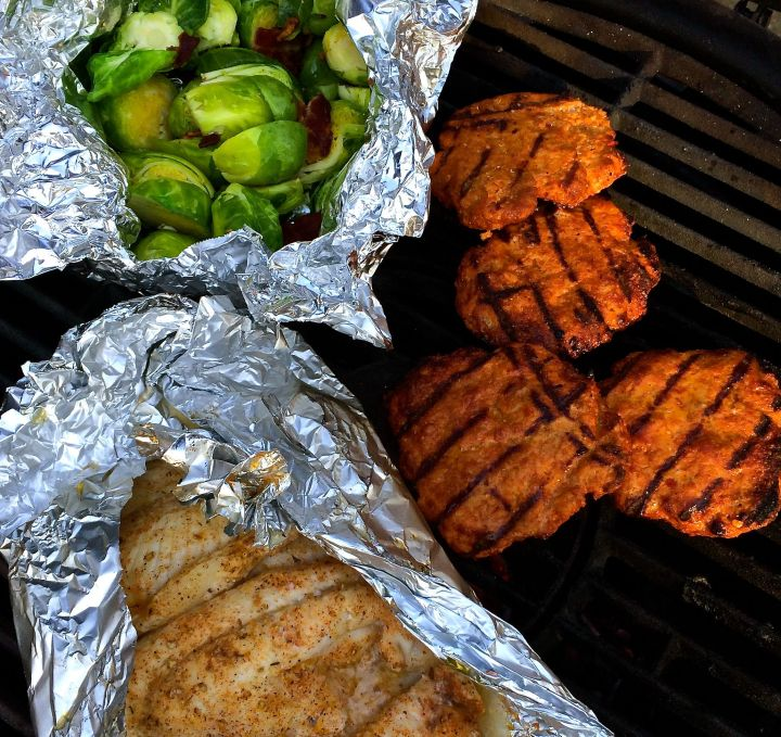 "Grillin' Sunday! Brussels Sprouts with crumbled Bacon, Turkey Burgers, and ""baked"" Catfish"