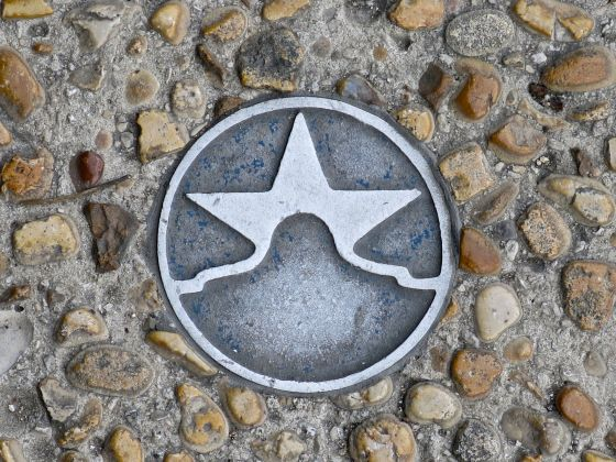 A San Antonio image medallion embedded in the sidewalk…near the Riverwalk