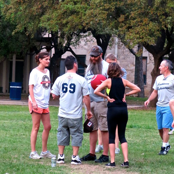 "Conference on ""the mound""…yeah right - what strategies come into play with kickball anyway?"