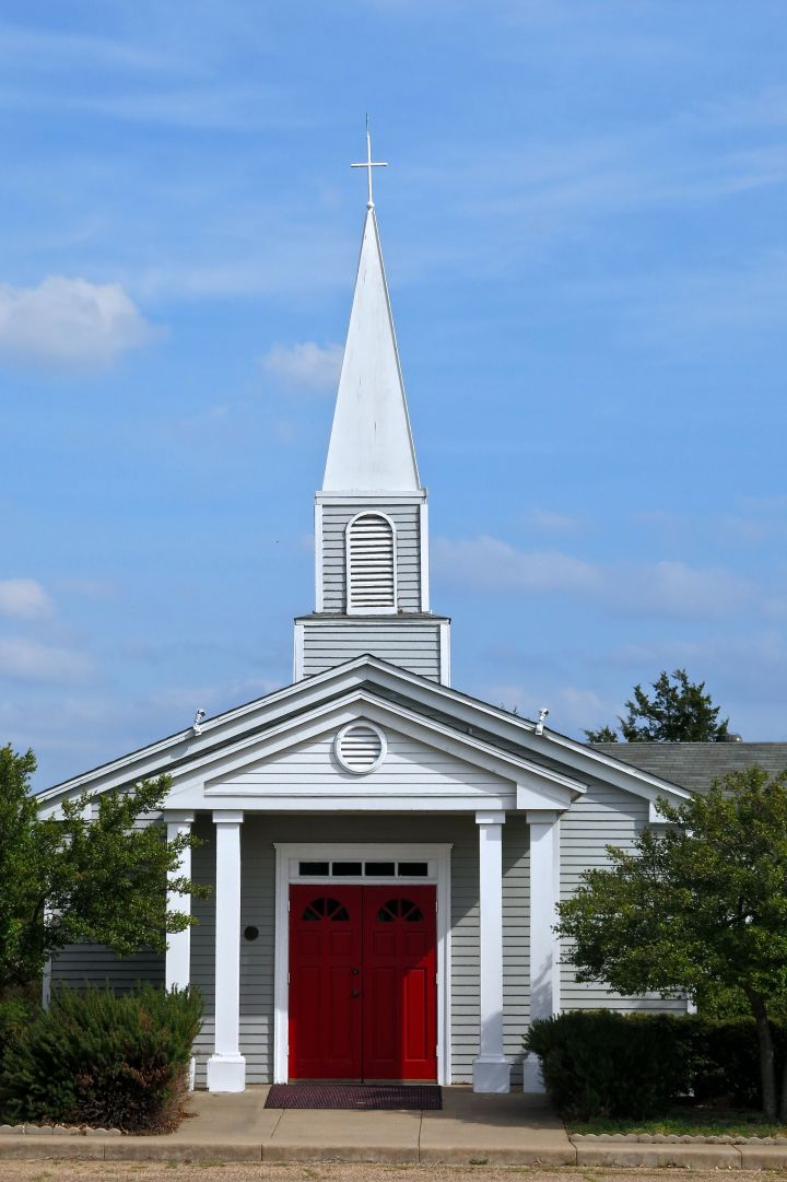 Just a neat old country church with a really bright red door...