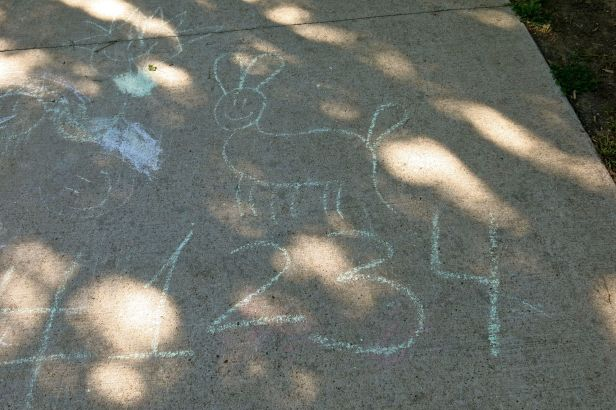 I love to walk around playground area and see the creative art from kids at play….