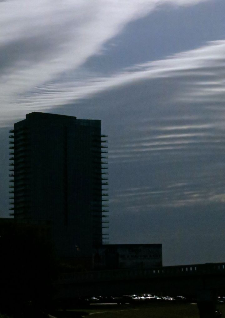 And 20 minutes later from my office window, the ____ were still streaking across the Fort Worth sky….