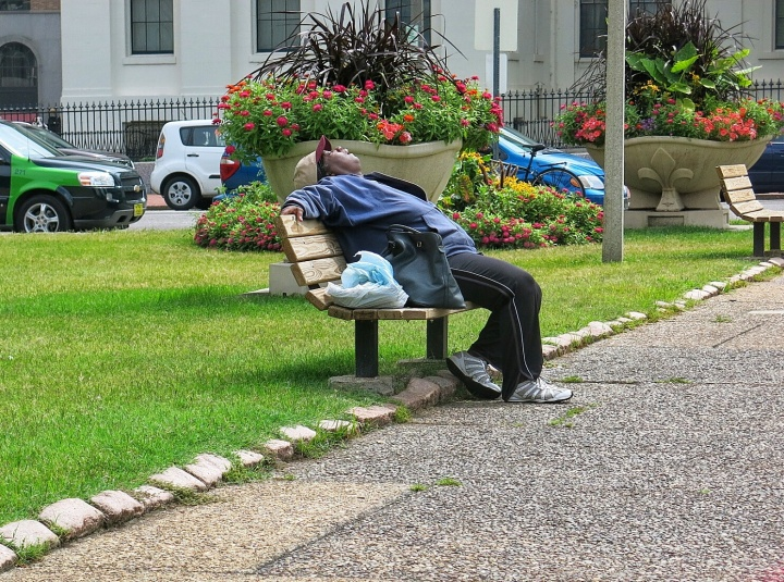 I'm of the age where I shake my head at this  display of public relaxation while at the same time scratch my head with wonder in the individual's ability to so soundly relax anywhere the butt sits....
