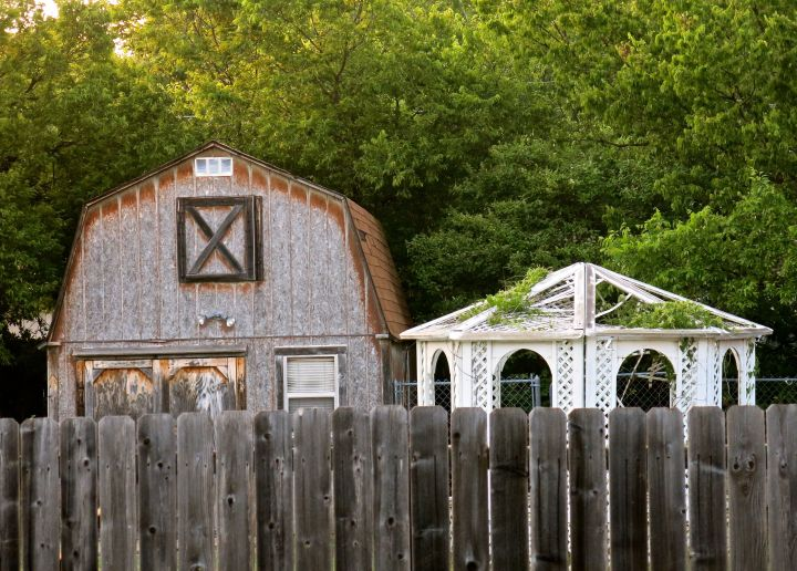 I walk past this backyard everyday with the Royals (Scotties), and everyday I get a kick out of the eclectic mix of backyard accessory buildings….