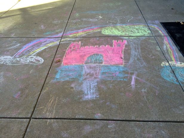 Perhaps the artist was wishing all castles (or churches) have a rainbow over them at all times...
